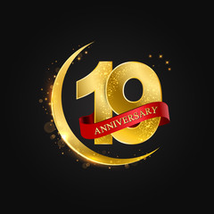Eid al Adha 19 years anniversary.Pattern with arabic golden, gold half moon and glitter.Vector illustration of greeting cards, covers, prints.