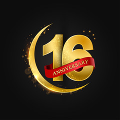 Eid al Adha 16 years anniversary.Pattern with arabic golden, gold half moon and glitter.Vector illustration of greeting cards, covers, prints.