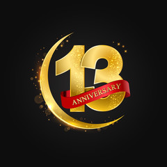 Eid al Adha 13 years anniversary.Pattern with arabic golden, gold half moon and glitter.Vector illustration of greeting cards, covers, prints.
