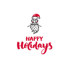 Santa Claus icon style template with handwritten text ''Happy holidays'' made in vector - Christmas symbol.