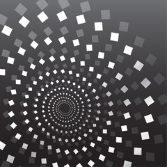 Gray and white spirals of rhombuses on a dark background, expanding radially from the center. Vector design.
