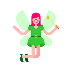Fairy isolated. Little magical woman. Tiny creature with wings. Flying Mythical fabulous character and magic wand