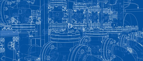 Sketch of industrial equipment. Vector Wall mural