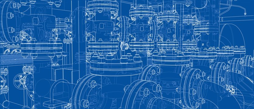 Sketch of industrial equipment. Vector