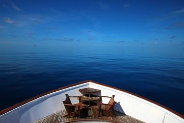Bow of yacht on ocean