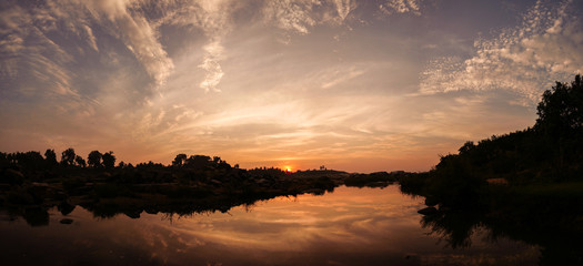 Sunset panorama in Hampi India
