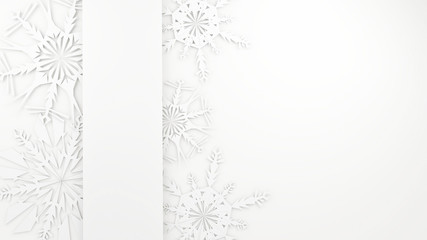 3d render - Christmas Background - Snowflakes and banner for text on white background