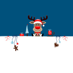 Background Rudolph Gift & Symbols Blue