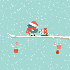 Wall Mural - Bird Pulling Candy Cane Sleigh Gift On Tree Retro