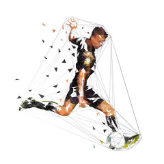 Football player in black jersey running with ball, abstract low poly vector drawing. Soccer player kicking ball. Isolated geometric colorful illustration, side view