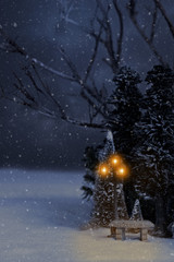 nighttime winter scene with lamp post