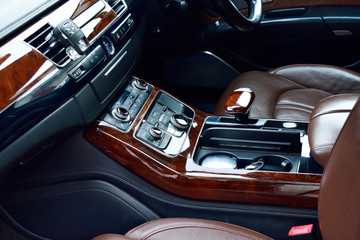 luxury car interior, wooden texture. gear less