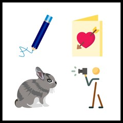4 photo icon. Vector illustration photo set. pencil and photograph icons for photo works