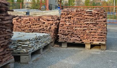 Stone for cladding at pallets. Stone market. Ukraine.