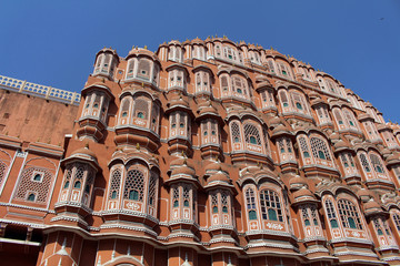 The front view of Hawa Mahal (Palace of Winds or Breeze) in Jaipur with so many chambers