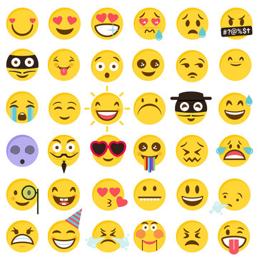 flat cartoon style Vector Emoticons