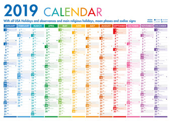 Colorful Calendar with US Holidays