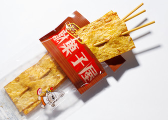 A Yotchan brand of Japanese squid snack is seen in this picture illustration in Tokyo