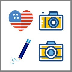 photo icon. photo camera and united states vector icons in photo set. Use this illustration for photo works.