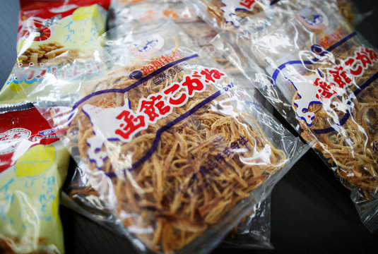 Japanese squid snacks are displayed at the office of the National Cooperative Association of Squid Processors in Tokyo