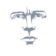Vector art drawing, portrait of man blaming somebody, this is no good. Facial expressions, people emotions. Hand-drawn mask with face expressions.