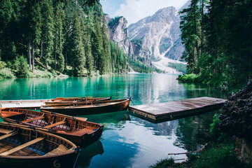 Beautiful view of Lago di Braies or Pragser wildsee, Italy. Wall mural