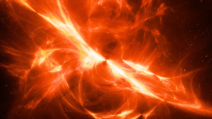 Fiery glowing high energy plasma field in space