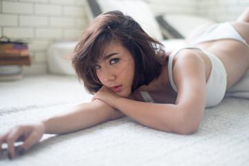 asian, sexy, shot hair woman in white bikini