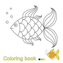 illustration of golden fish for coloring book. Simple educational game for kids