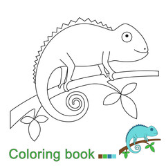 illustration of chameleon sitting on the branch for coloring book. Simple educational game for kids