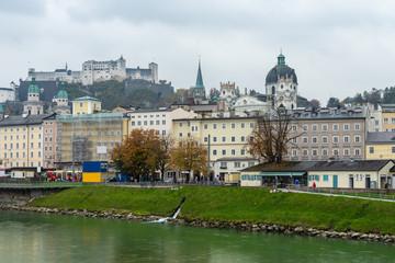 Foto op Plexiglas Buenos Aires Beautiful view of the historic city of Salzburg with Salzach river, Salzburg, Salzburger Land, Austria