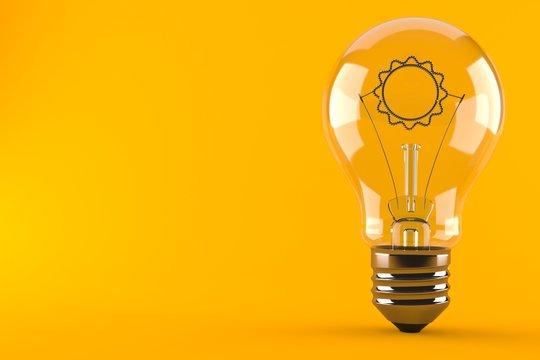 Light bulb with sun icon