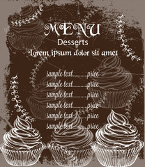 Menu card template drinks and cakes Vector. Fresh coffee, cupcakes, design line arts