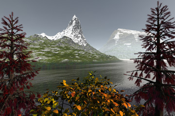 Snowy mountains, an autumn landscape, beautiful lake, grass on the ground and a hazy sky.