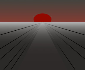 Stylized Landscape in Red and Gray
