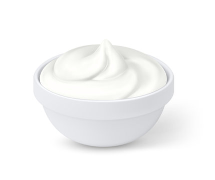 Realistic sour cream in bowl, mayonnaise, yogurt, isolated on white background. Vector illustration