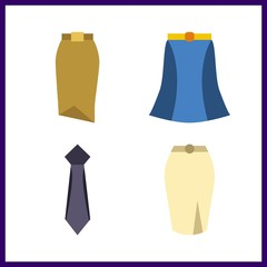 4 dress icon. Vector illustration dress set. skirt and tie icons for dress works