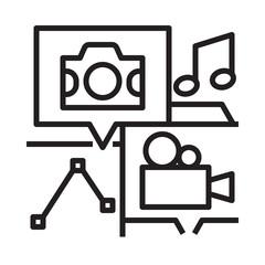 multimedia file stock contributor line icon