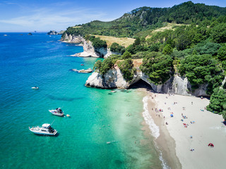 Foto op Plexiglas Cathedral Cove Arial view of Cathedral cove in Coromandel Peninsula, New Zealand