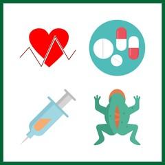 4 illness icon. Vector illustration illness set. vivisection and cardiogram icons for illness works