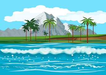 Ocean landscape, tropical islands with palm trees in the horizon, vector illustration