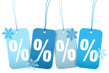 "Hangtags ""Sale"" Percent Winter Snowflakes"