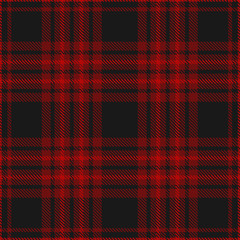 Plaid pattern in black and burgundy. Seamless fabric texture.