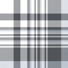 Plaid pattern in slate grey, dusty blue and white. Seamless fabric texture.