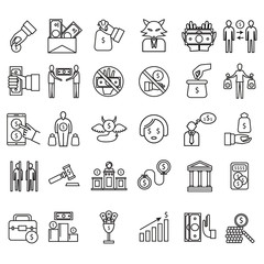 Corruption and Dishonesty Signs Black Thin Line Icon Set. Vector