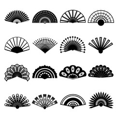 Hand Fan Signs Black Thin Line Icon Set. Vector