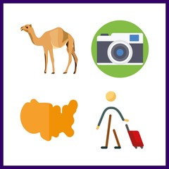 photo icon. camel and tourist vector icons in photo set. Use this illustration for photo works.