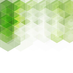 Green vector hexahedrons placed in a chaotic order. Template for the brand, banner. geometric image in polygonal style. Origami. Business-design. Texture, technology
