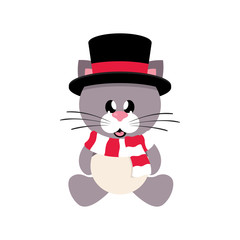 winter cartoon cute cat in hat with scarf sitting