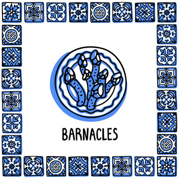 Portugal landmarks set. Goose Barnacles, Percebes traditional delicacy seafood. Plate with barnacles in frame of Portuguese tiles. Sketch style vector illustration, for souvenirs, magnets, post cards